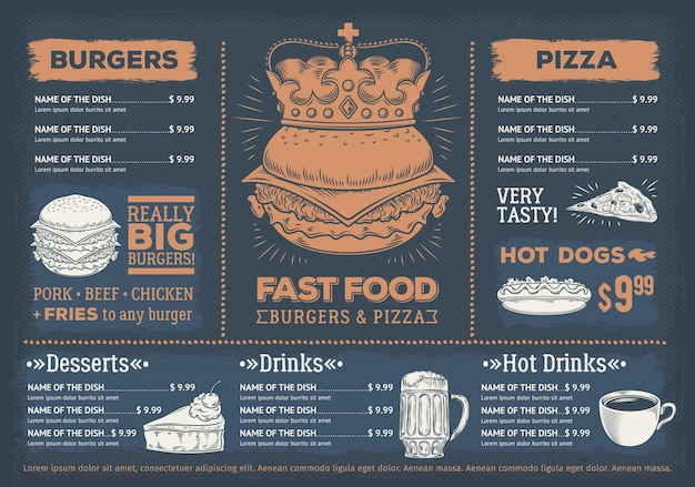 Vector illustration of a design fast food restaurant menu, a cafe with a hand-drawn graphics. Free Vector