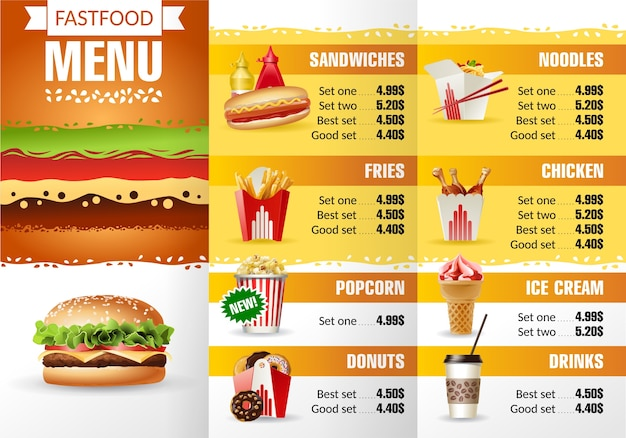 Vector illustration design menu fast food restaurant for Sandwich shop menu template