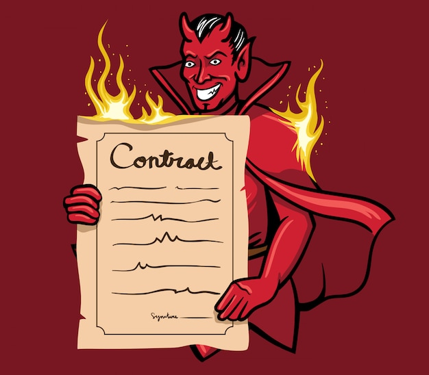 Vector illustration of devil offering a contract. Premium Vector