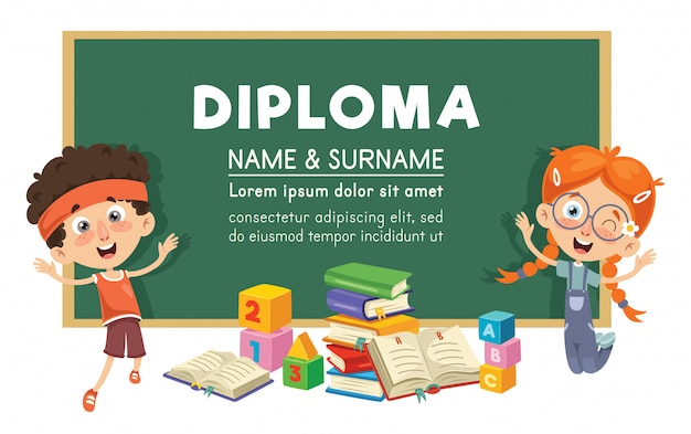 Vector illustration of diploma design Premium Vector