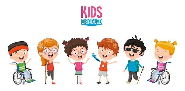 Vector illustration of disabled kids Premium Vector