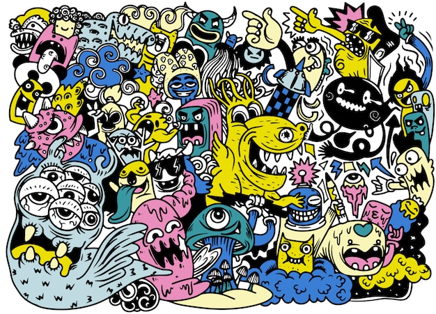 Vector illustration of doodle cute monster, hand drawing doodle Premium Vector