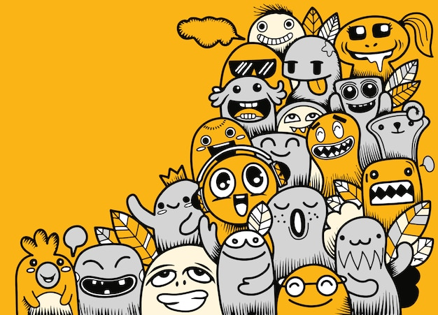 Vector illustration of doodle cute monster with copy space Premium Vector