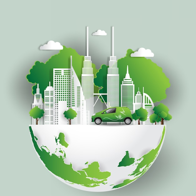 Vector illustration. eco friendly concept, green city save the world Premium Vector
