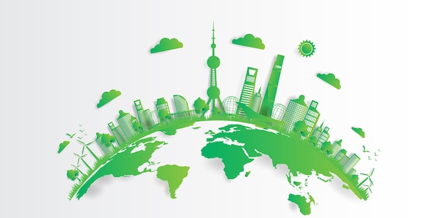 Vector illustration. eco friendly concept, green city save the world, Premium Vector