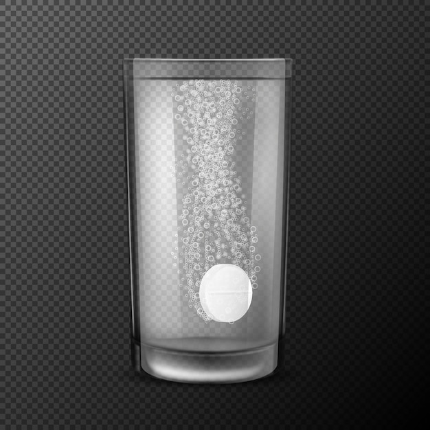 Vector illustration of effervescent tablets, soluble pills falling in a glass with water with fizzy bubbles isolated on a black background. Free Vector