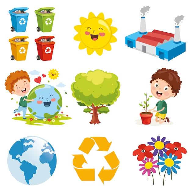 Vector illustration of environment elements Premium Vector