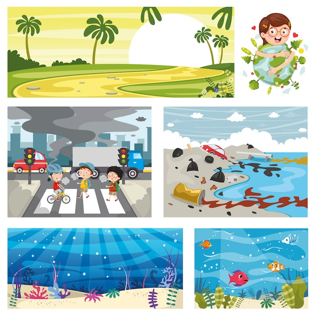 Vector illustration of environment elements Premium Vector