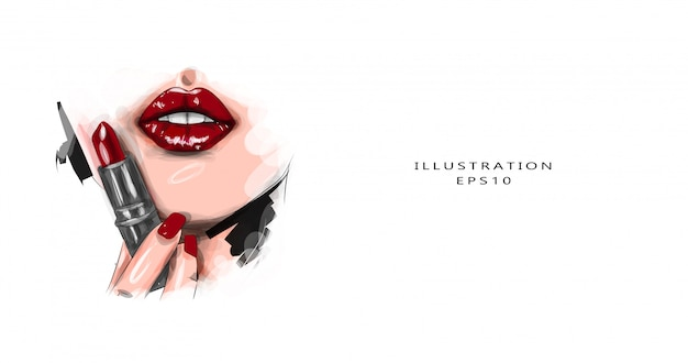 Vector illustration. extreme close by model, applying dark red lipstick. makeup. professional trendy retro makeup. dark red lipstick. wine lips Premium Vector