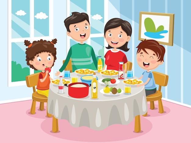 Vector illustration of family having dinner Premium Vector