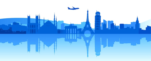 Vector illustration of famous buildings and monuments in europe Premium Vector