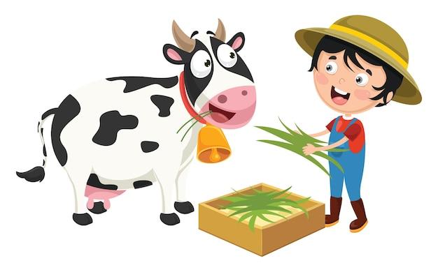Premium Vector   Vector illustration of farm kid