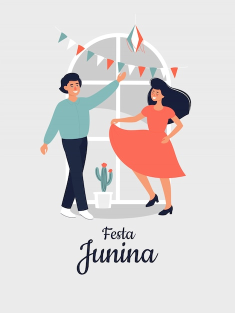 Vector illustration for festa junina with happy dansing woman and man at home. Premium Vector