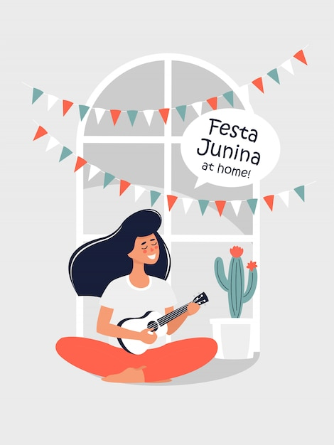 Vector illustration for festa junina with a woman playing a guitar at home. Premium Vector
