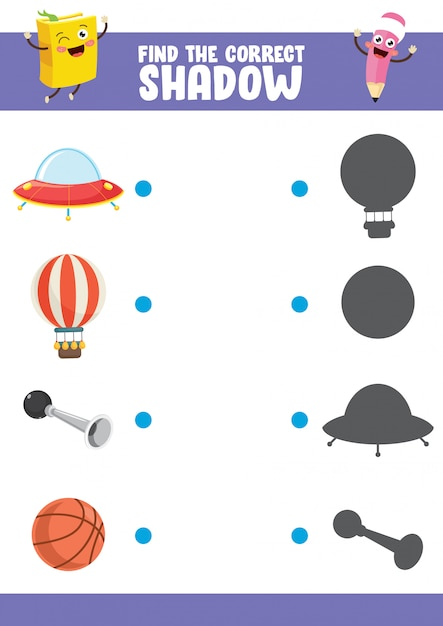 Vector illustration of finding correct shadow exercise Premium Vector
