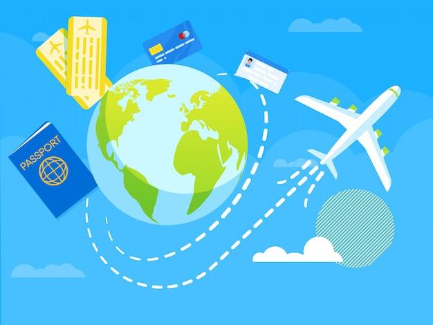 Vector illustration flight around world flat. Premium Vector