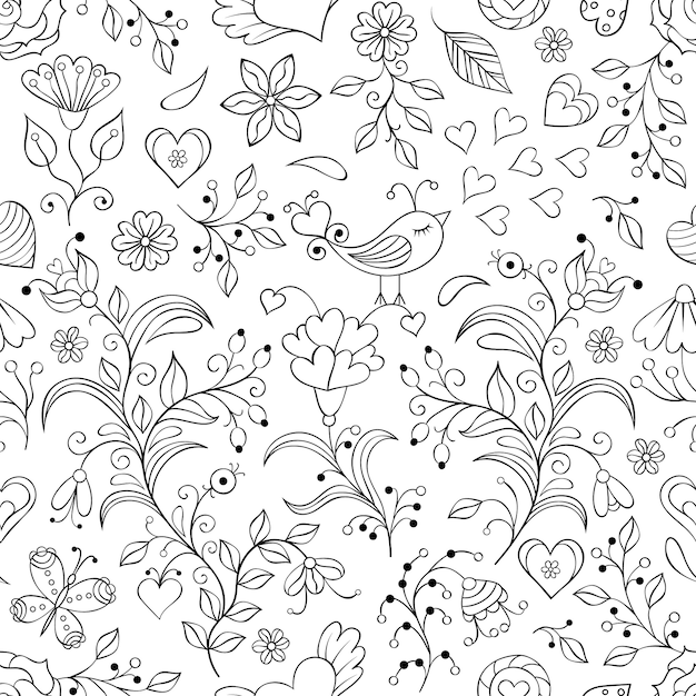 Vector illustration of floral seamless pattern Premium Vector