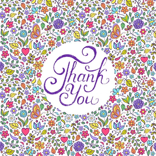 Vector illustration of floral thank you card design Premium Vector