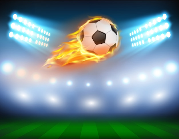 Vector illustration of a football in a fiery flame. Free Vector