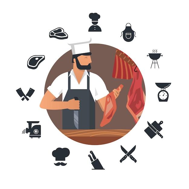 職場でひげを生やした肉屋とフラットアイコンのセットを持つ肉屋のベクトル図 Premiumベクター
