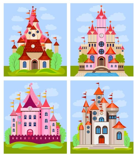 Векторная иллюстрация для детей с сказочным замком и пейзажем Premium векторы