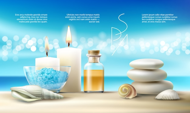 Vector illustration for spa treatments with aromatic salt , massage oil, candles. Free Vector