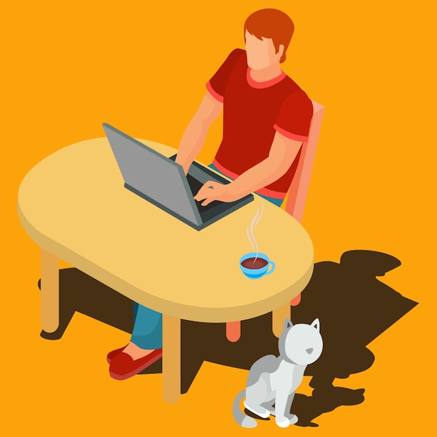 Vector illustration of a freelance worker. Free Vector