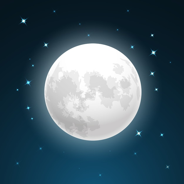 Vector illustration of full moon close up and around the stars Free Vector