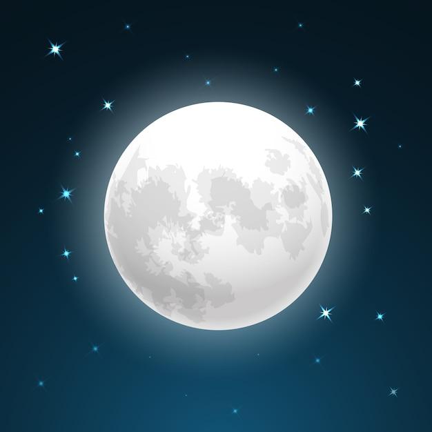 Illustrazione vettoriale di luna piena da vicino e intorno alle stelle Vettore gratuito