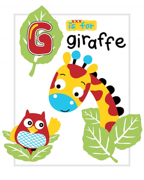 Vector illustration of giraffe and owl cartoon Premium Vector