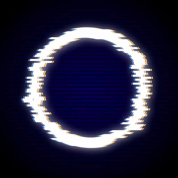 Vector illustration of glitched circle frame design. distorted g Premium Vector
