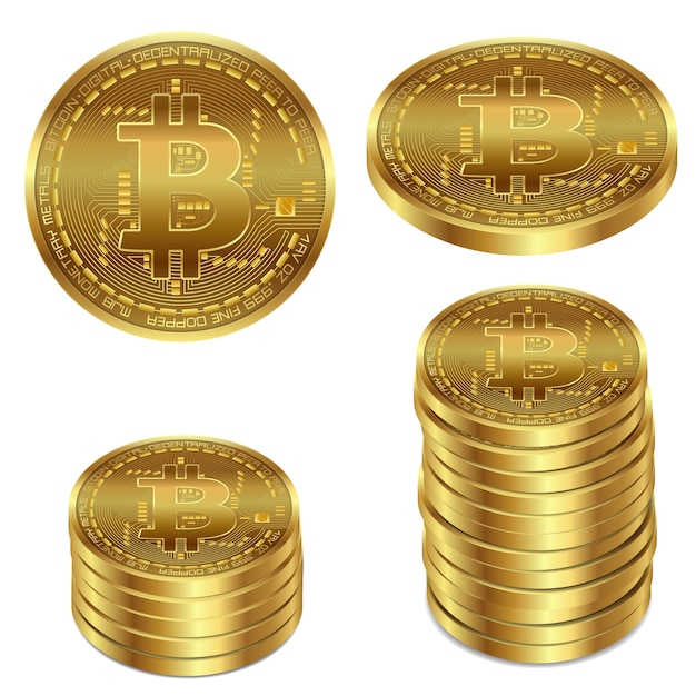 Vector illustration of a golden bitcoin on a white background. Free Vector