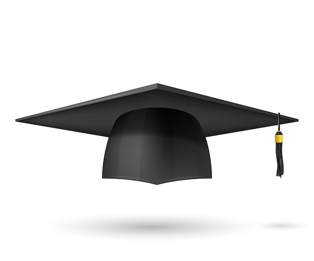Vector illustration graduate hat with a tassel. symbol graduation. the subject of a university graduate, a traditional headdress. Premium Vector