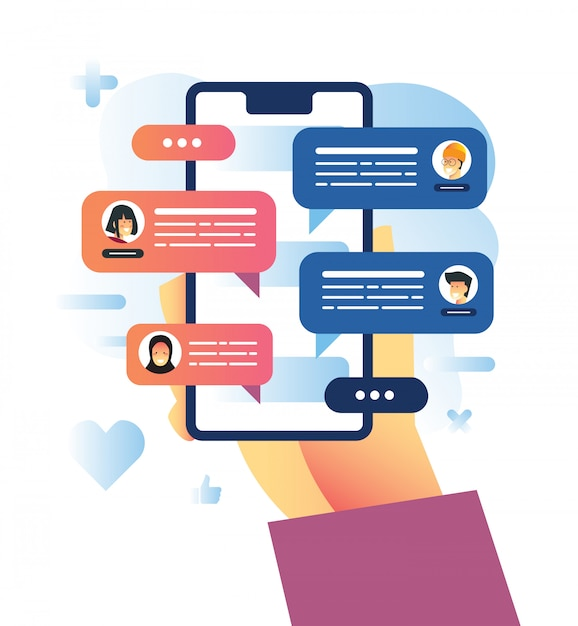 Vector illustration of group chat using messenger apps during pandemic Premium Vector