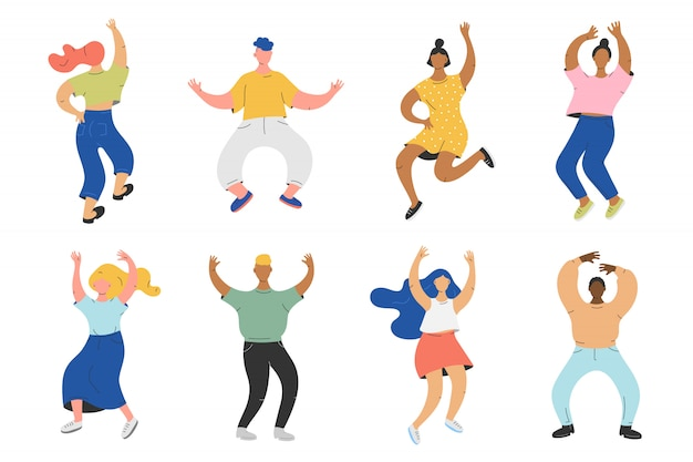 Vector illustration of group of people dancing to the music Premium Vector