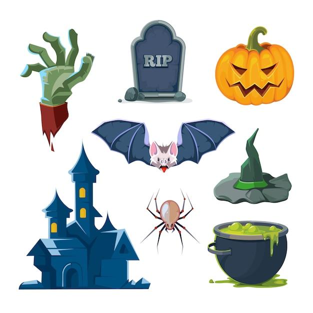 Vector illustration of halloween icons set Premium Vector