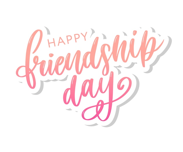 Vector illustration of hand drawn happy friendship day felicitation Premium Vector