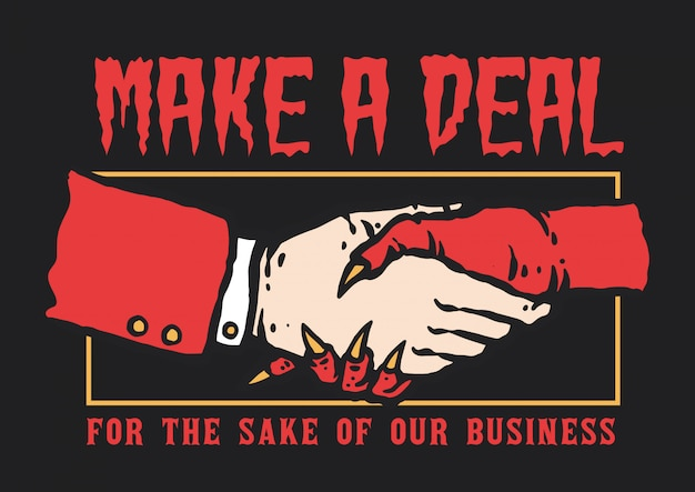 Vector illustration of hand shaking between man and devil make a deal for business Premium Vector