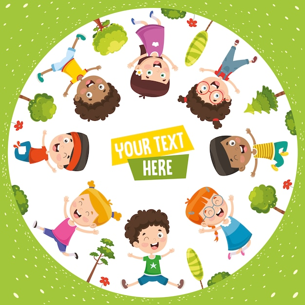 Vector illustration of happy children Premium Vector