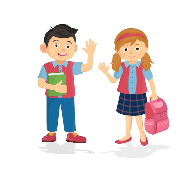 Vector illustration of happy couple student schoolboy and schoolgirl Premium Vector