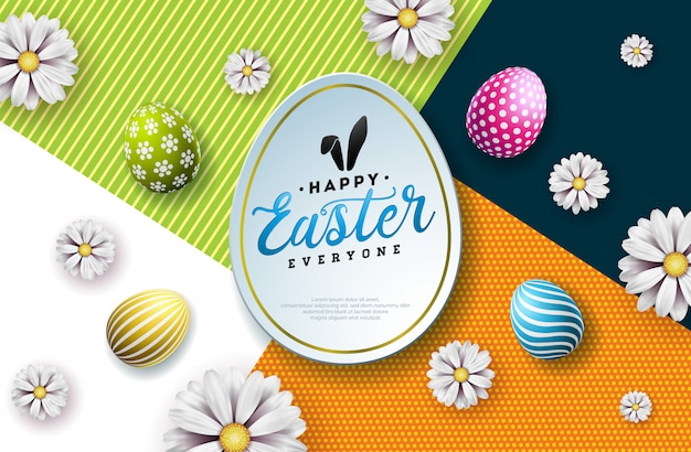 Vector illustration of happy easter holiday with painted egg Premium Vector
