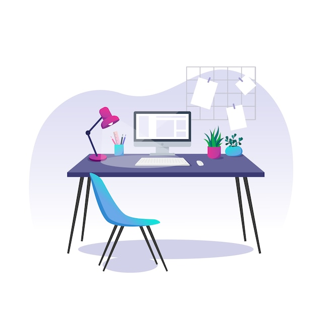 Vector illustration, home office. computer, stationery items and houseplants on a desk. Premium Vector
