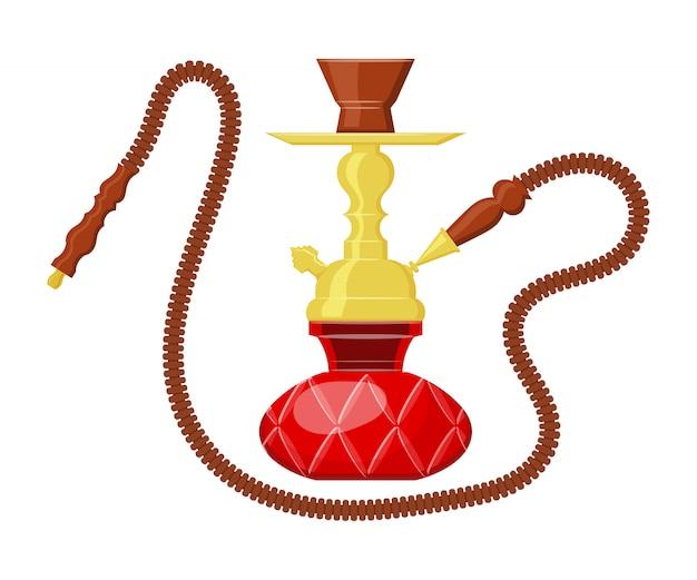 Vector illustration of hookah. cartoon calabash. vintage object. east entertainment - hookah. Premium Vector