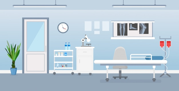 Vector illustration of hospital room interior with medical tools, bed and table. room in hospital in flat cartoon style. Premium Vector