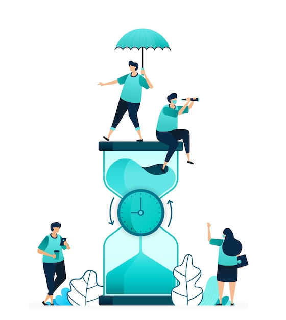 Vector illustration of hourglass with clock rotating in the middle to count down. measure time limit and workability. women and men workers. designed for website, web, landing page, apps, poster flyer Premium Vector