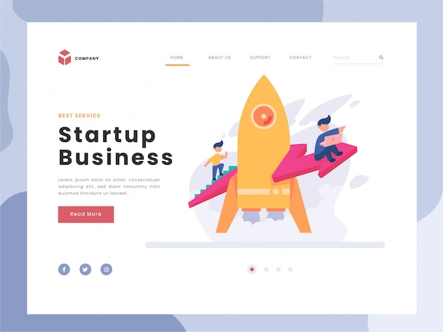 Vector illustration idea concept for landing page template, man soars into the sky through clouds with jet pack rocket, team startup launch of a new business developing company, flat gradient style. Premium Vector