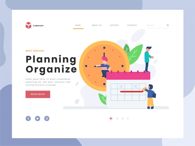 Vector illustration idea concept for landing page template,planning and organization of tasks on board, flat tiny persons man working with timeline, system organizing for daily routine,flat styles Premium Vector