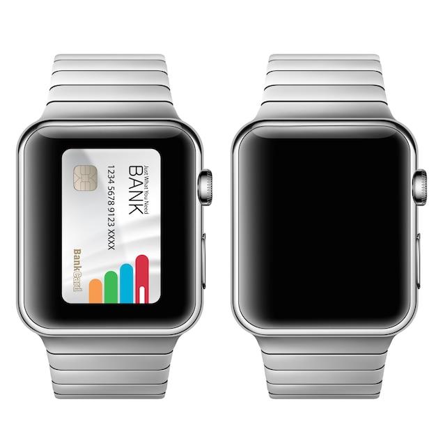現実的なスタイルであなたの腕時計にアプリケーションを使用して電子支払いの概念のベクトル図。 無料ベクター