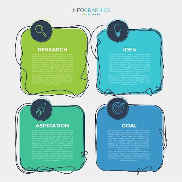 Illustrazione vettoriale modello di progettazione infografica con icone e 4 opzioni o passaggi. Vettore gratuito