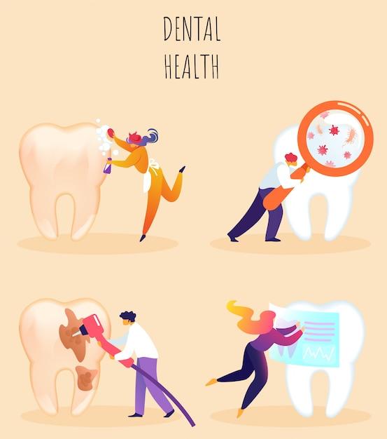Vector illustration inscription dental health. Premium Vector